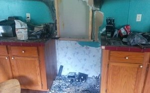 Fire Damage in Kitchen in Fort Myers home