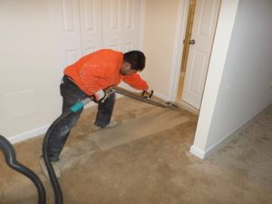 A Technician Extracting Water From A Flooded Home