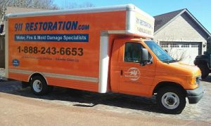 Mold Removal Truck At Residential Job Site